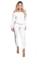 Women Fashion Off Shoulder Side Stripes Two Pieces Suit White