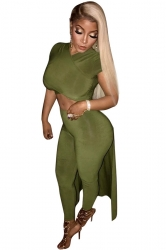 Women Sexy High Low Slimming Irregular Suit Army Green