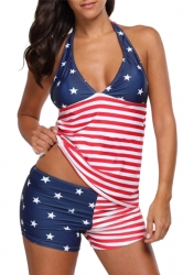 Womens Sexy Deep V-Neck Halter Flag Printed Tankini Red