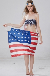 Womens Sexy Flag Printed Straps Beach Cover-Up Red