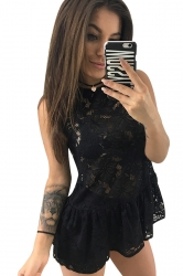 Women Sexy See Through Lace Fitted Waist Sleeveless Top Black