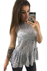 Women Sexy See Through Lace Fitted Waist Sleeveless Top Gray