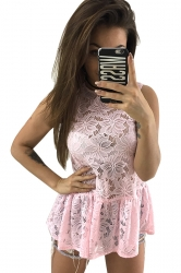 Women Sexy See Through Lace Fitted Waist Sleeveless Top Pink