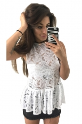 Women Sexy See Through Lace Fitted Waist Sleeveless Top White