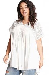 Women Plus Size Lace Patchwork Loose V Neck T-Shirt White