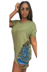Women Fashion Waist Hollow Out Crew Neck T-Shirt Army Green