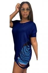 Women Fashion Waist Hollow Out Crew Neck T-Shirt Blue
