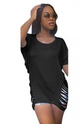 Women Fashion Waist Hollow Out Crew Neck T-Shirt Black