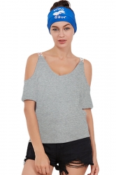 Women Casual Cold Shoulder Plain Short Sleeve T-Shirt Gray