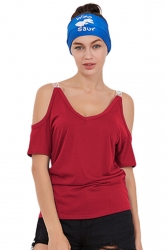 Women Casual Cold Shoulder Plain Short Sleeve T-Shirt Red