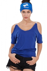 Women Casual Cold Shoulder Plain Short Sleeve T-Shirt Sapphire Blue