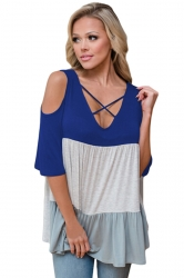 Women Color Block Cross V Neck Cold Shoulder T-Shirt Sapphire Blue