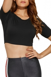 Women Sexy Short Sleeve Crew Neck Sports Wear Crop Top Black