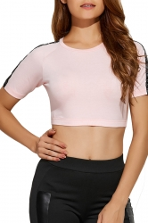 Women Sexy Short Sleeve Crew Neck Sports Wear Crop Top Pink