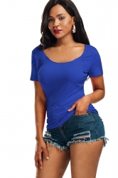 Women Sexy V Back Lace Up Plain T-Shirt Blue