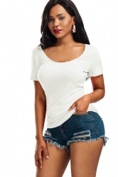 Women Sexy V Back Lace Up Plain T-Shirt White
