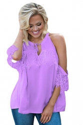 Women Lace Detail Over Sleeve Tank Top Purple