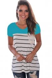 Women Splice Striped Short Sleeve T-Shirt Blue