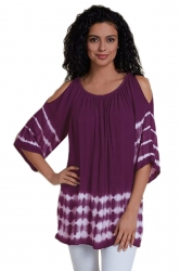 Women Cold Shoulder Pleated Half Sleeve Printed T-Shirt Purple