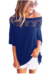 Women Sexy Lace Patchwork Hollow Out Half Sleeve Blouse Blue