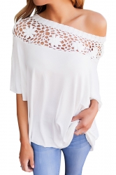 Women Sexy Lace Patchwork Hollow Out Half Sleeve Blouse White