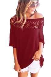 Women Sexy Lace Patchwork Hollow Out Half Sleeve Blouse Ruby
