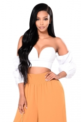 Women Sexy Off Shoulder Low Cut Zipper Bishop Sleeve Crop Top White
