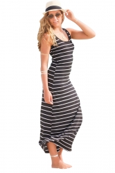 Women Casual Stripes Sleeveless Maxi Dress Black