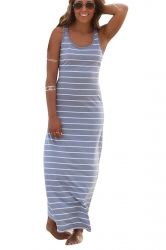 Women Casual Stripes Sleeveless Maxi Dress Gray