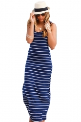 Women Casual Stripes Sleeveless Maxi Dress Sapphire Blue