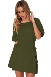 Women Casual Crew Neck Lace Up Short Sleeve Shirt Dress Green