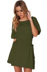 Women Casual Crew Neck Lace Up Short Sleeve Shirt Dress Green