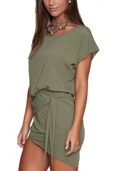 Women Lace Up Asymmetrical Hem Crew Neck Plain Shirt Dress Army Green