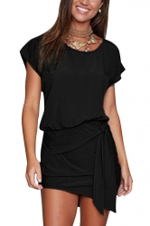 Women Lace Up Asymmetrical Hem Crew Neck Plain Shirt Dress Black