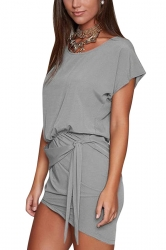 Women Lace Up Asymmetrical Hem Crew Neck Plain Shirt Dress Gray