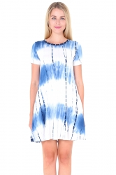 Crew Neck Short Sleeve Pleated Tie-Dyed Shirt Dress Blue