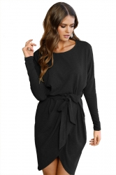 Women Long Sleeve Loose Casual Tie Waist Dress Black