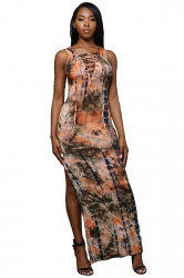 Women Sexy Lace Up Side Split Printed Maxi Dress Orange