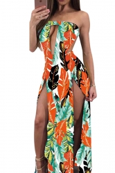 Women Sexy Split Cut Out Backless Printed Club Wear Dress Orange
