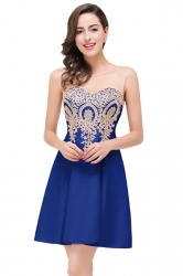 Women Elegant Sheer Neck Gold Applique Party Prom Dress Blue
