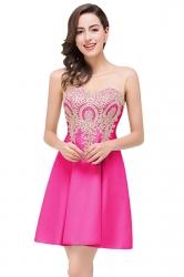 Women Elegant Sheer Neck Gold Applique Party Prom Dress Rose Red