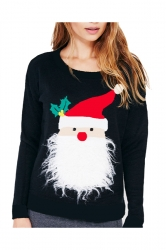 Women Stereo Santa Claus Long Sleeve Velvet Pullover Sweater Black