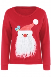 Women Stereo Santa Claus Long Sleeve Velvet Pullover Sweater Red