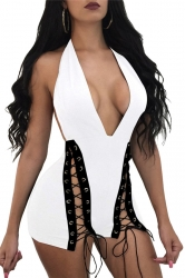 Women Sexy Halter Deep V-Neck Cross Lace Up Romper White