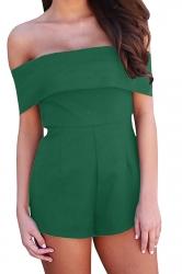Women Sexy Off Shoulder Plain Zipper Romper Green