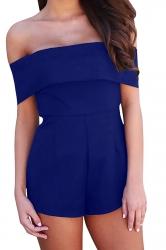 Women Sexy Off Shoulder Plain Zipper Romper Sapphire Blue