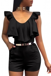 Women Sexy V Neck Ruffle High Waist Romper Black