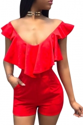 Women Sexy V Neck Ruffle High Waist Romper Red
