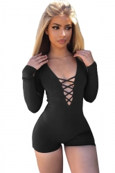 Women Sexy Deep V Lace Up Long Sleeve Romper Black