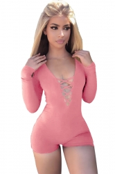 Women Sexy Deep V Lace Up Long Sleeve Romper Pink